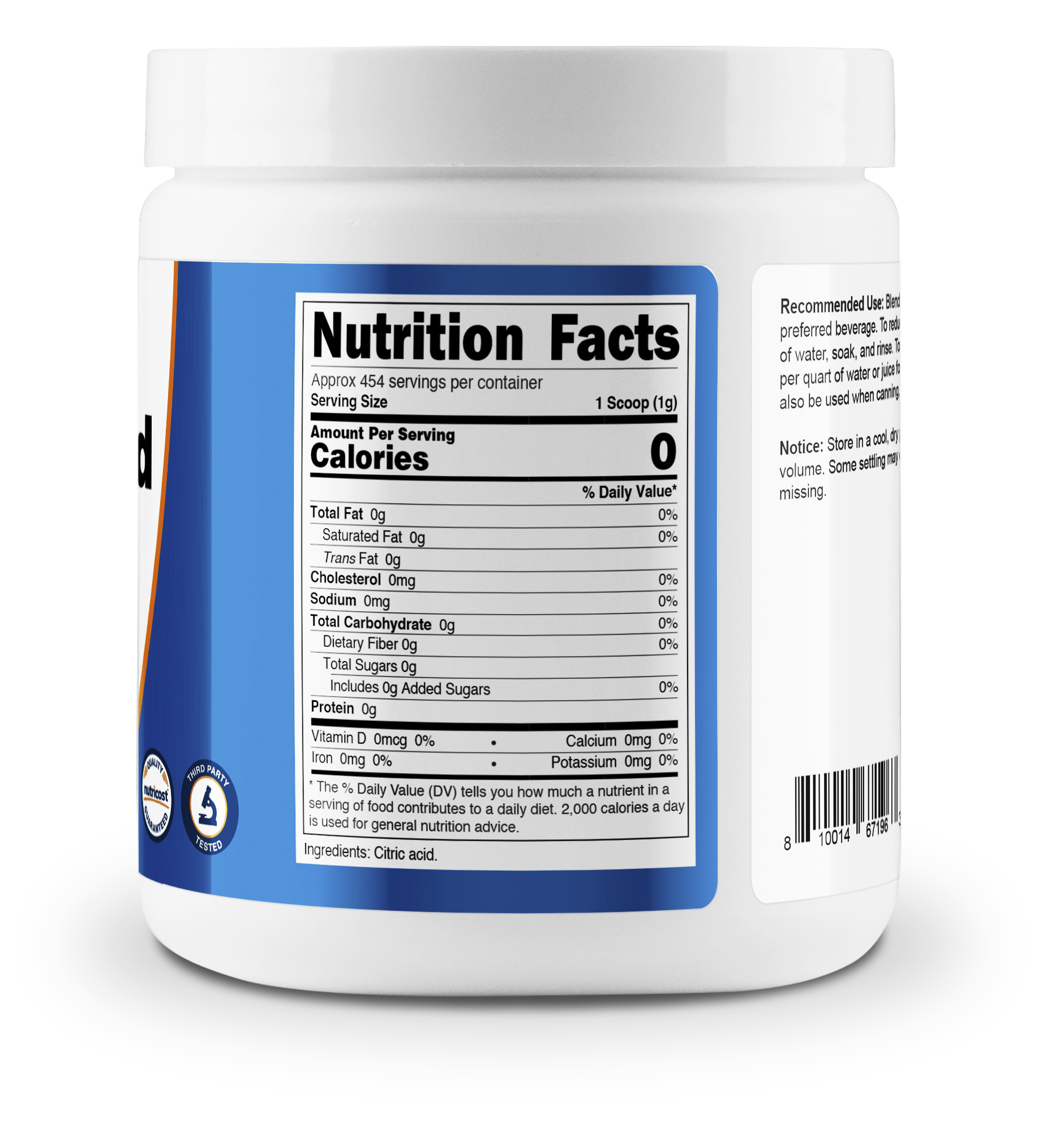 Nutricost Citric Acid Supplement Facts