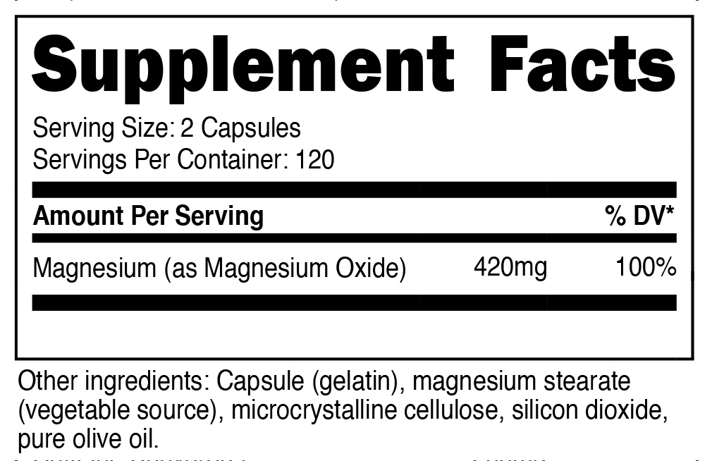 Magnesium Oxide Supplement Facts