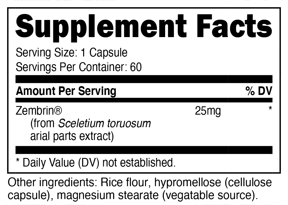 Nutricost Zembrin Supplement Facts