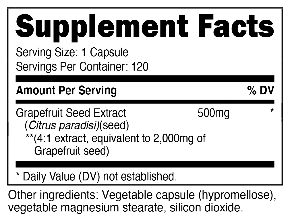 Grapefruit Seed Extract Supplement Facts