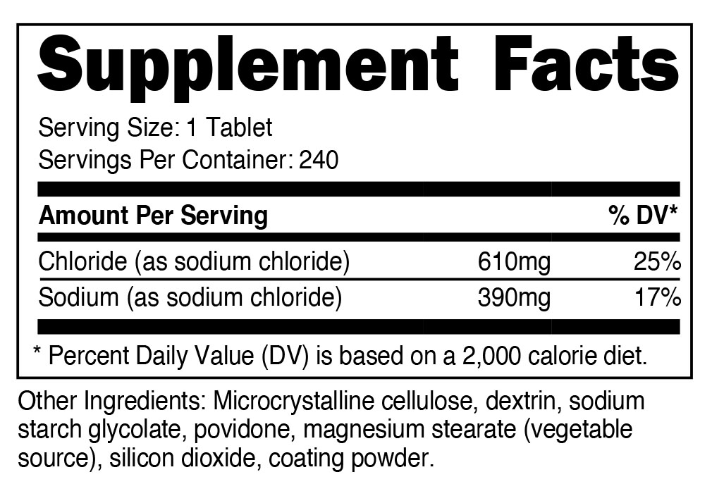 Sodium Chloride Supplement Facts