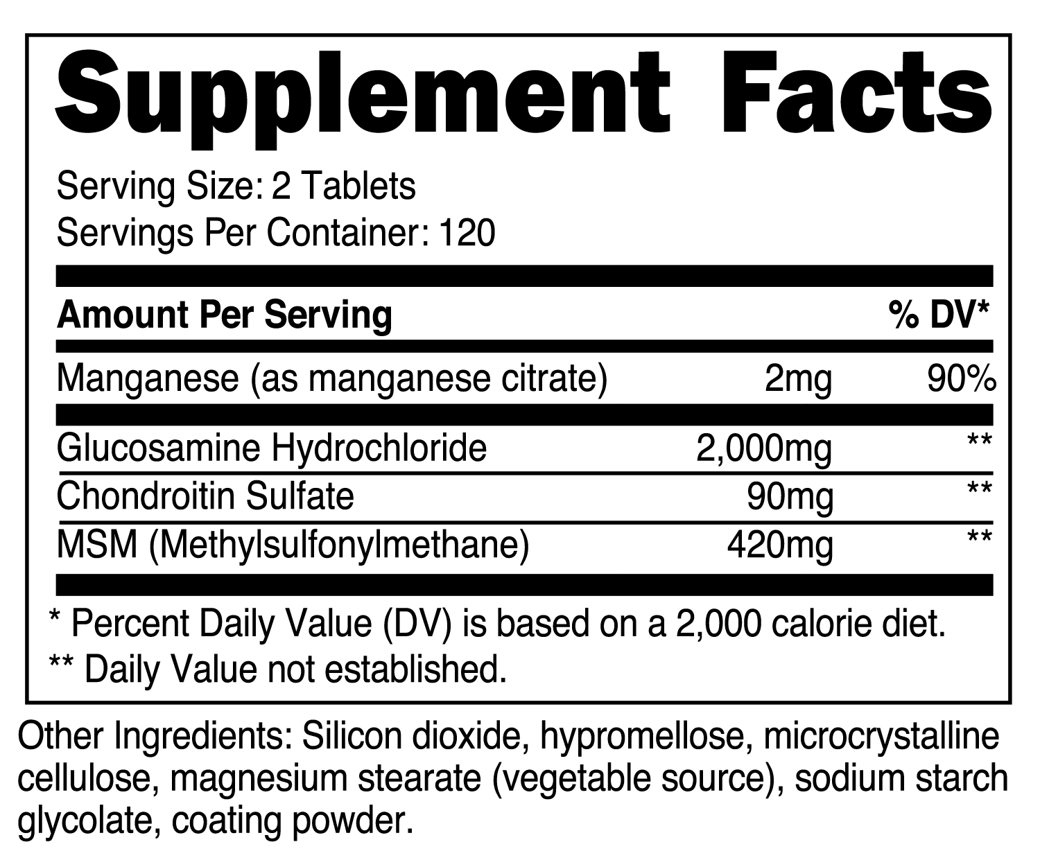 Glucosamine with Chondroitin & MSM Supplement Facts