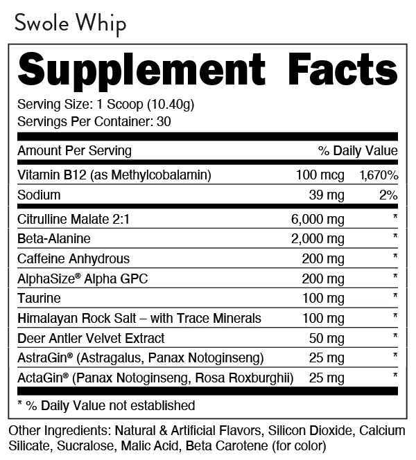 Bucked Up Preworkout Supplement Facts