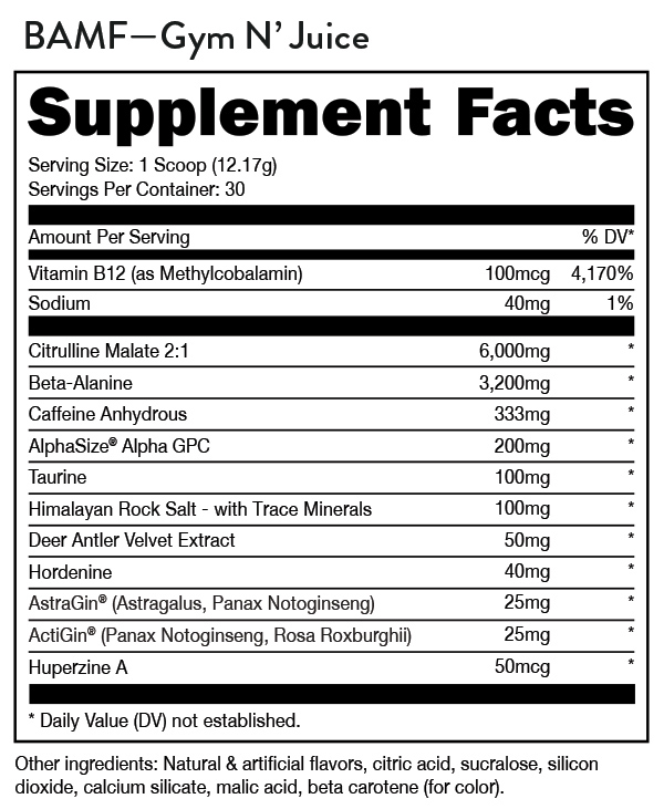 Bucked Up BAMF Preworkout Supplement Facts